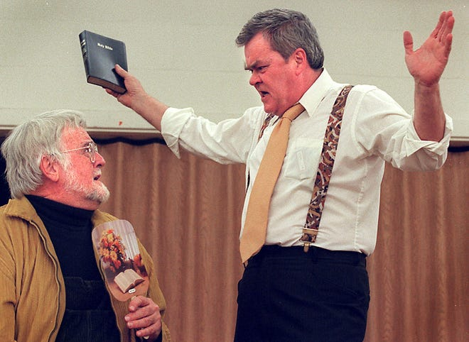 """In this 1998 photo, Arliss Jeffries, (right) and Dean Hunter (left) act a scene from """"Inherit The Wind"""" for the Religious Arts Festival. Jeffries, a West Lafayette High School teacher and regular in Greater Lafayette theater productions, died over the weekend."""