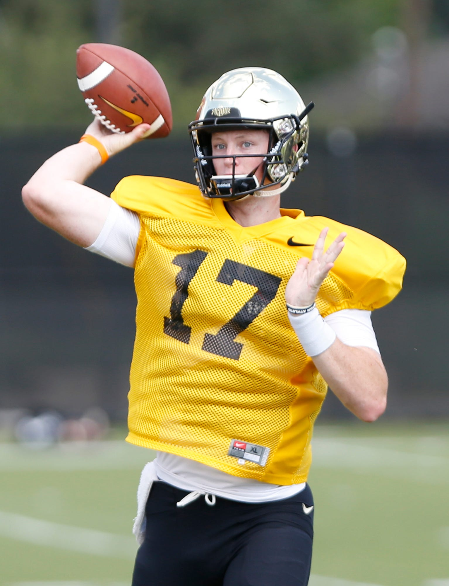 Quarterback Nick Sipe with a pass during Purdue football practice Monday, August 27, 2018, in West Lafayette.