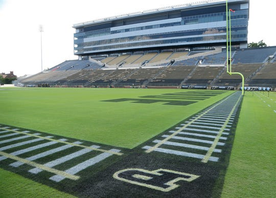 Painted railroad tracks and block P letters accent the sidelines and end zone in Ross-Ade Stadium Monday, August 27, 2018, in West Lafayette.