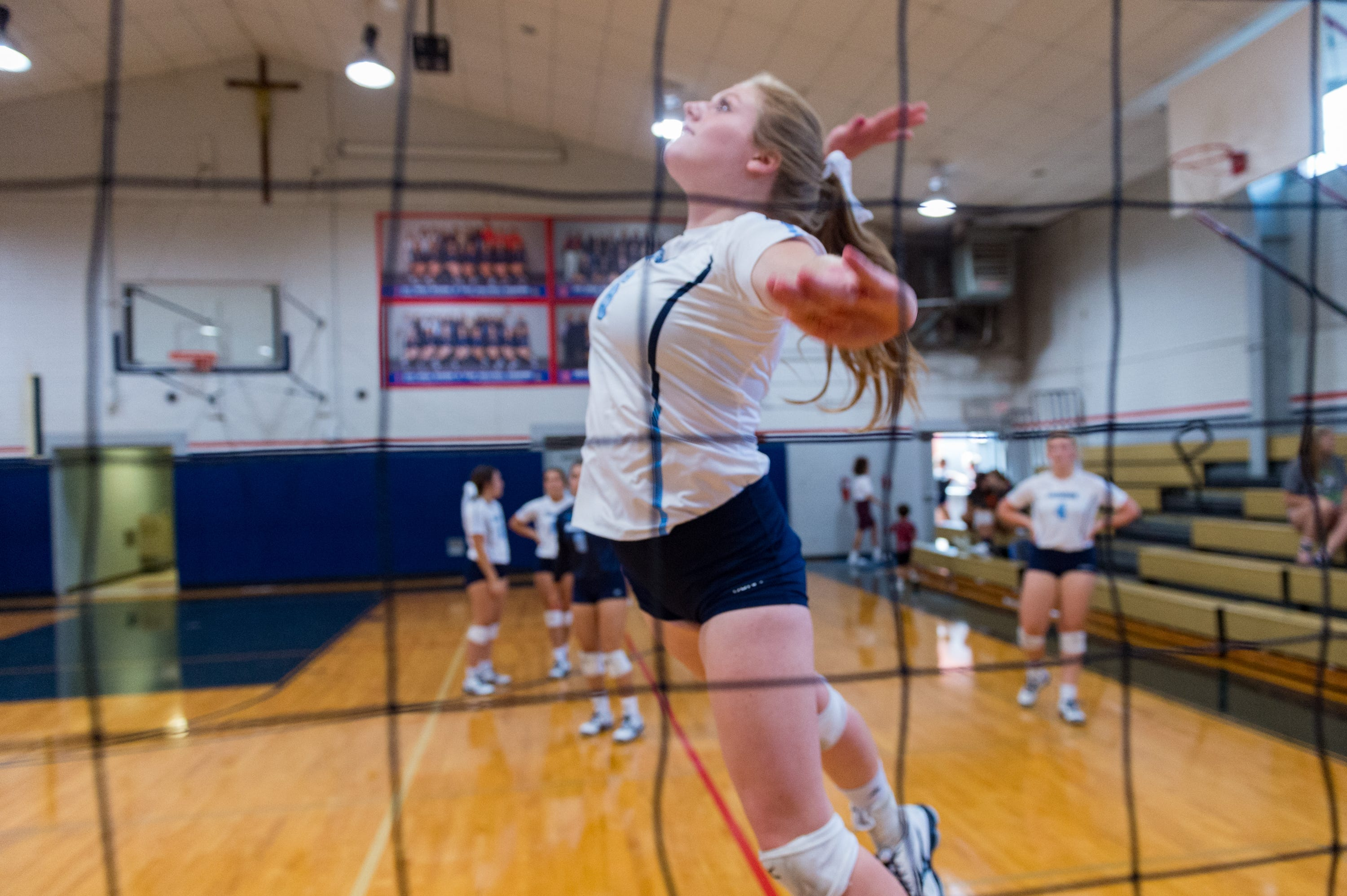 Addie Vidrine during warmups at the Teurlings Catholic  Volleyball Jamboree. Thursday, Aug. 23, 2018.