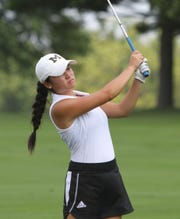 Anika Dy of Traverse City West shot 70 to win the Coach Miller Invite golf tournament at Oak Pointe Country Club on Monday, Aug. 27, 2018.
