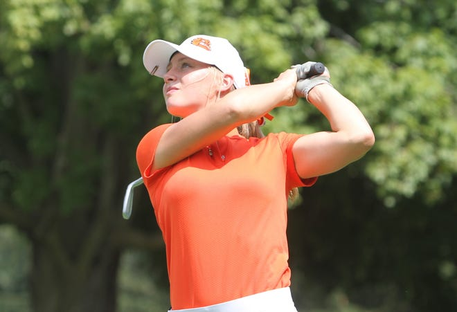 Brighton's Annie Pietila shot 74 to place fourth in the Coach Miller Invite golf tournament at Oak Pointe Country Club on Monday, Aug. 27, 2018.