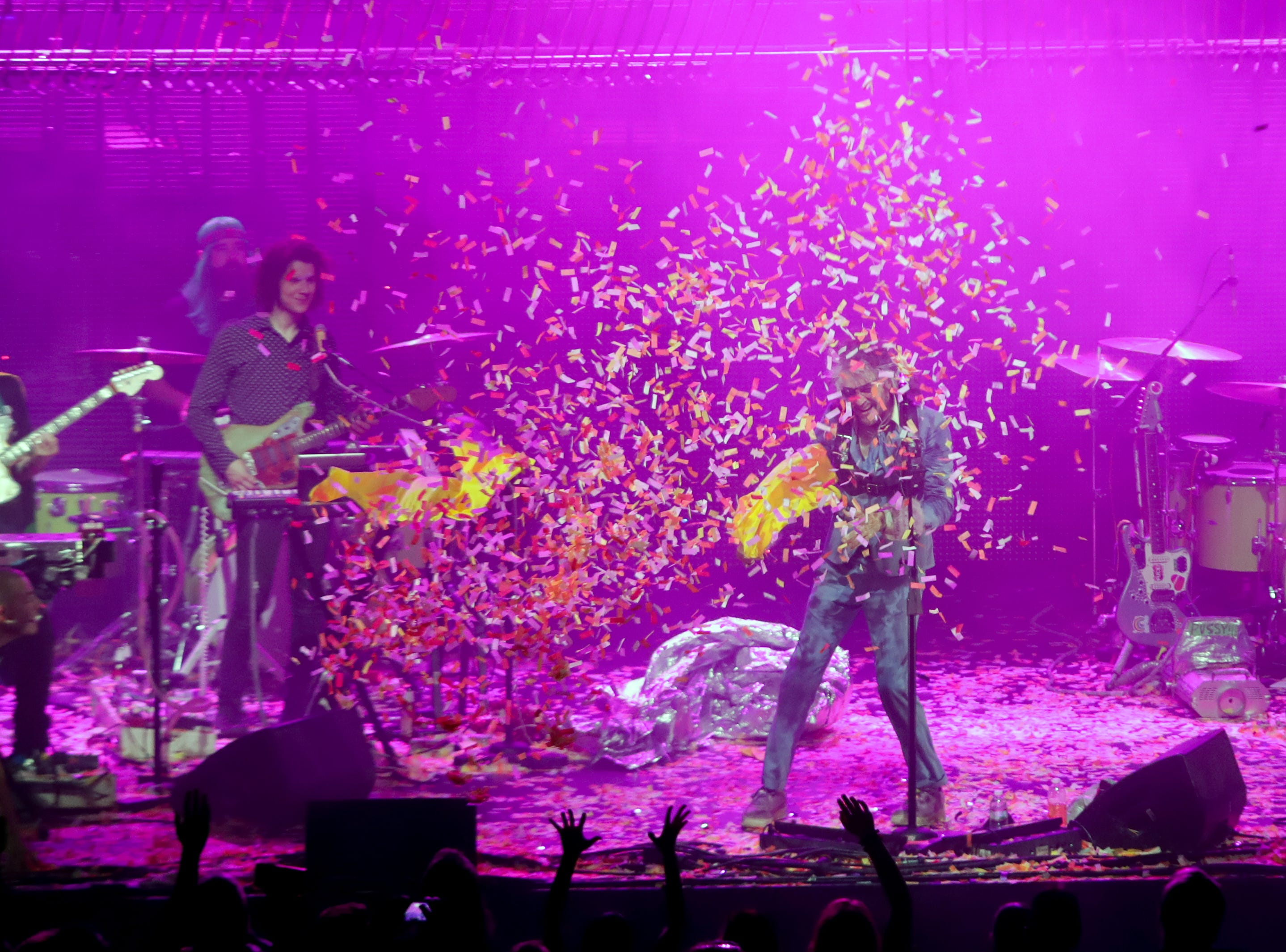 Wayne Coyne of The Flaming Lips entertained the crowd at Iroquois Amphitheater in Louisville, Ky. Aug. 27, 2018