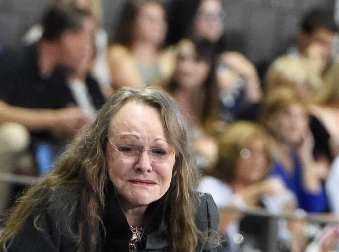 Helen Rich is overjoyed by watching her daughter Ali De Gray win the Amateur Five Gaited Championship with Memories Of Cabo with Grant Fleming looking on