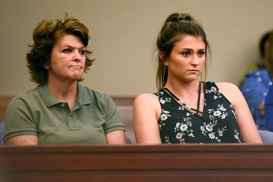 Nassar survivor Lindsey Lemke, right, and her mother, Christy, look on during a hearing on a motion seeking a new sentence for Larry Nassar on Monday, Aug. 27, 2018, in Ingham County Circuit Court in Lansing.