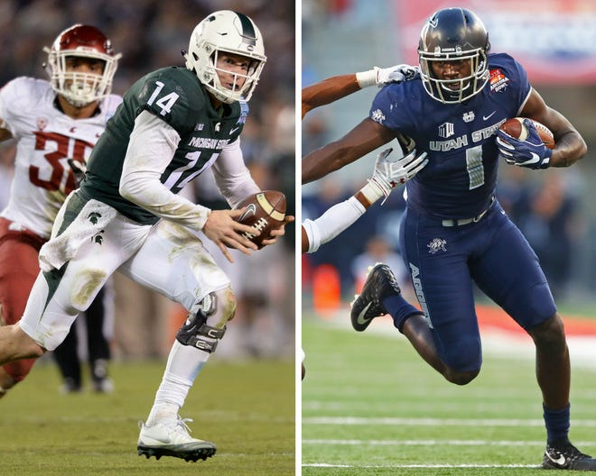 From left: Michigan State QB Brian Lewerke and Utah State WR Ron'quavion Tarver.