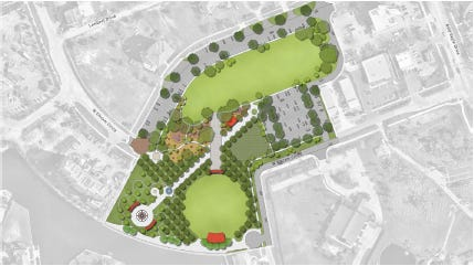 This design shows one of two concepts developed by Kimley-Horn and Associates for Veterans Community Park.