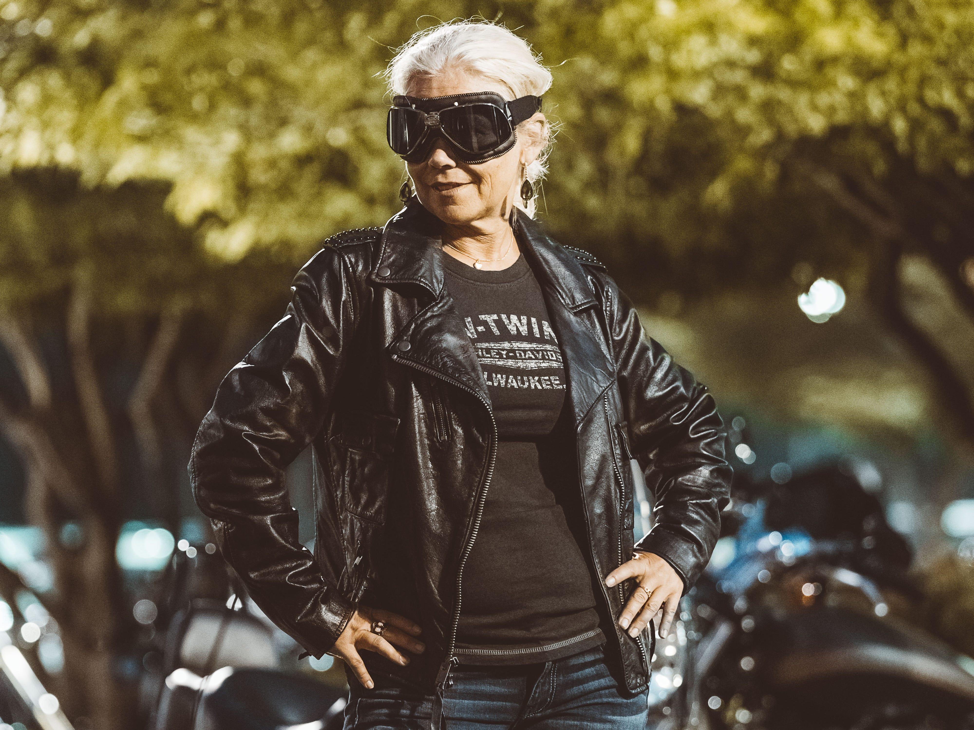"Bostrom wears: Her own jean shorts, a pair of black Wolverine Alberta boots ($200), a black ""Wild Leather"" jacket from the 1903 collection ($375), a black vintage-style studded V-Twin tank ($50.99) and Wiley X Rally series goggles ($180)."