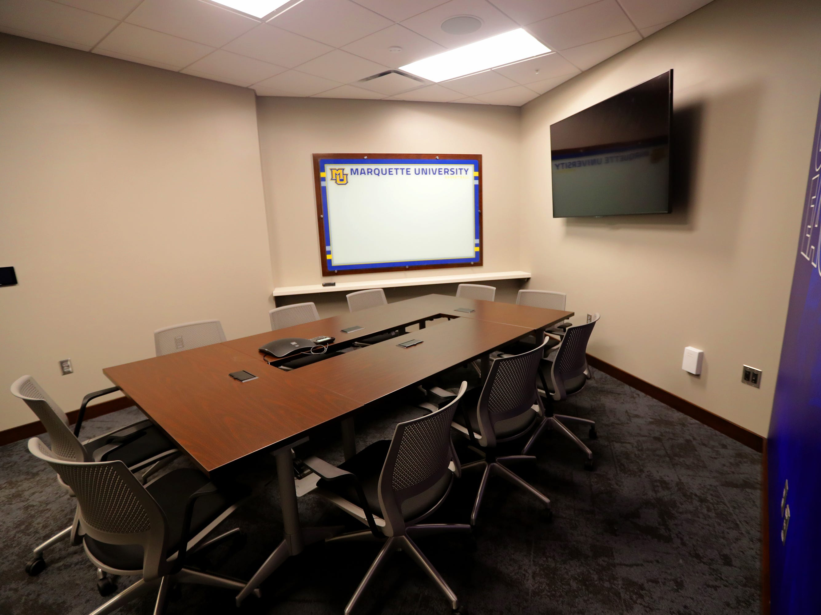 A meeting room includes a flat screen and white board. The Marquette mens' basketball team locker room is complete at the new Fiserve Forum, the home of the Milwaukee Bucks. Monday, August 27, 2018.  -  Photo by Mike De Sisti / Milwaukee Journal Sentinel