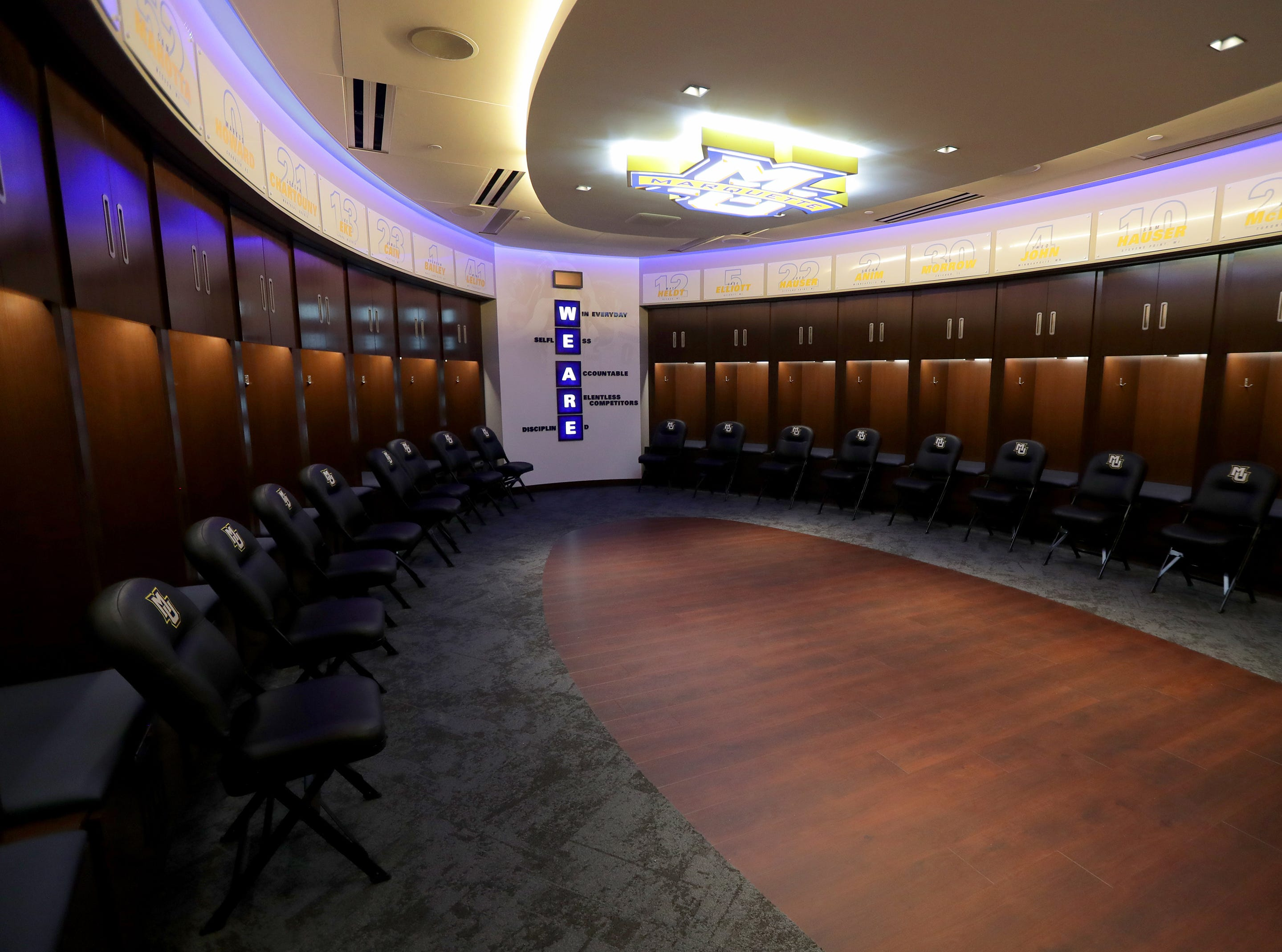 The Marquette mens' basketball team locker room is complete at the new Fiserve Forum, the home of the Milwaukee Bucks. Monday, August 27, 2018.  -  Photo by Mike De Sisti / Milwaukee Journal Sentinel