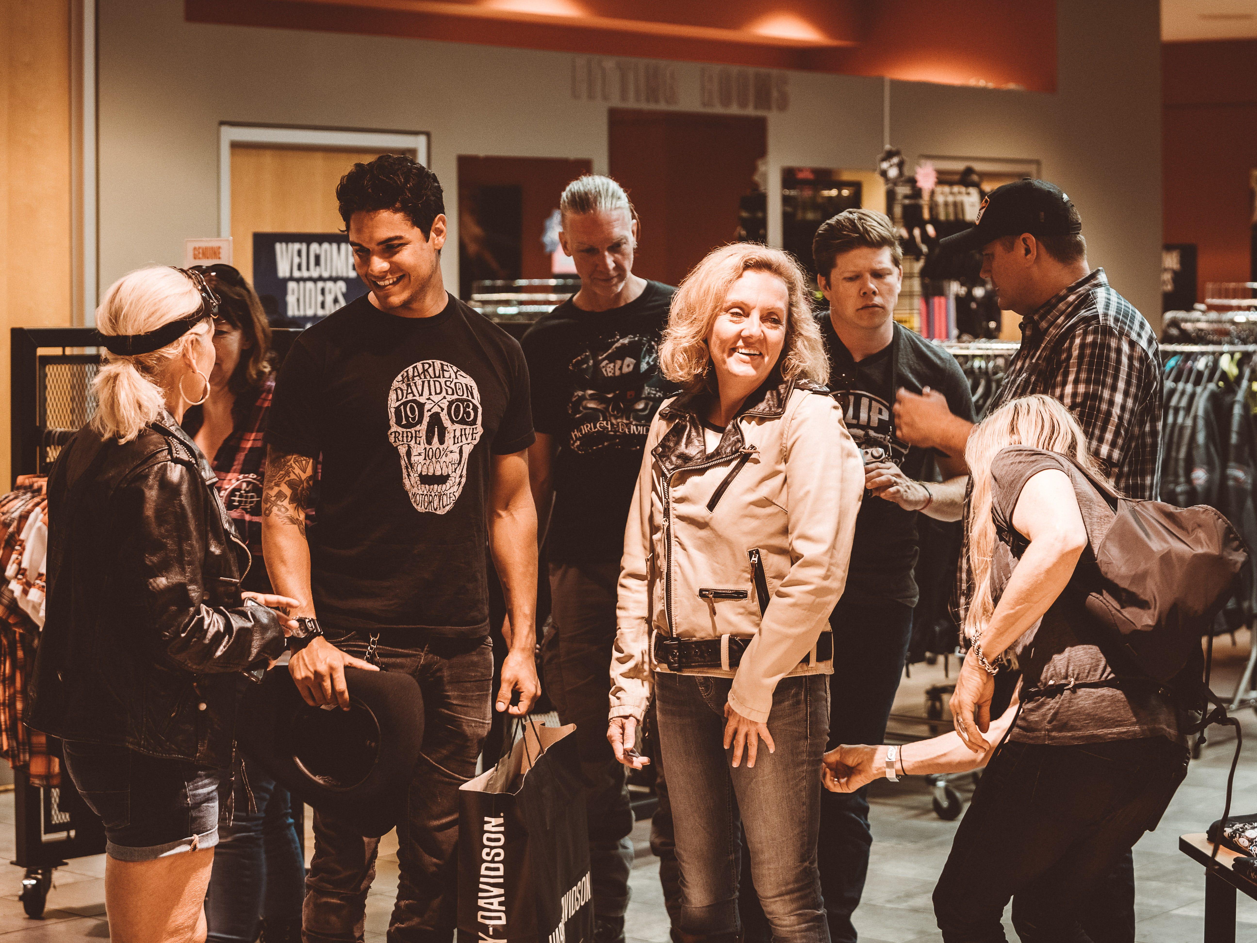 Majsan Bostrom  (from left), Harley-Davidson intern Alejandro Garrido, artist Greg Malenshek, journalist Amanda Kingsbury and Aaron Putnam of Joyride Productions get styled in Harley gear.