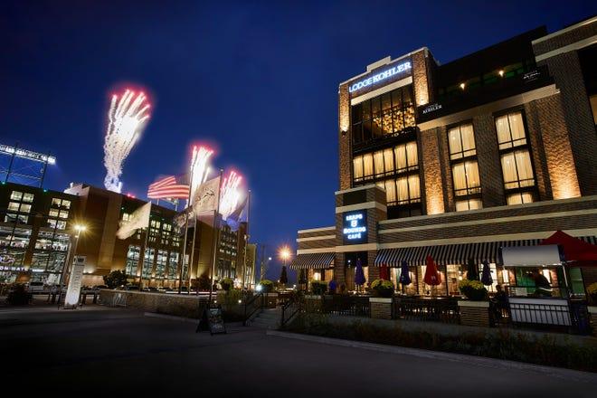 Fireworks light up the sky near Lodge Kohler, a luxurious new destination near Lambeau Field in Green Bay.
