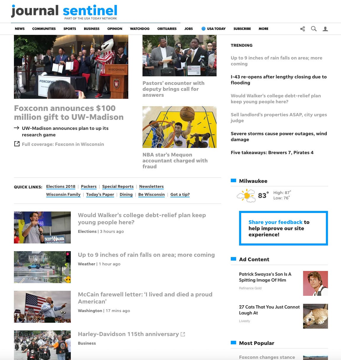 Milwaukee Journal Sentinel homepage