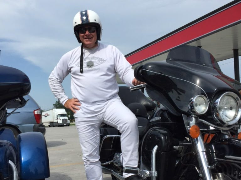 Riders on the Southwest leg of the Harley-Davidson 115th anniversary ride from San Diego to Milwaukee, joked that Tom Korkos, a plastic surgeon from Milwaukee, looked like an ice cream man or hospital orderly in his all-white get-up.'When you are on a long trip like this, you have to have a 'white outfit day,' Korkos said. 'It changes up the routine. It creates conversation.'