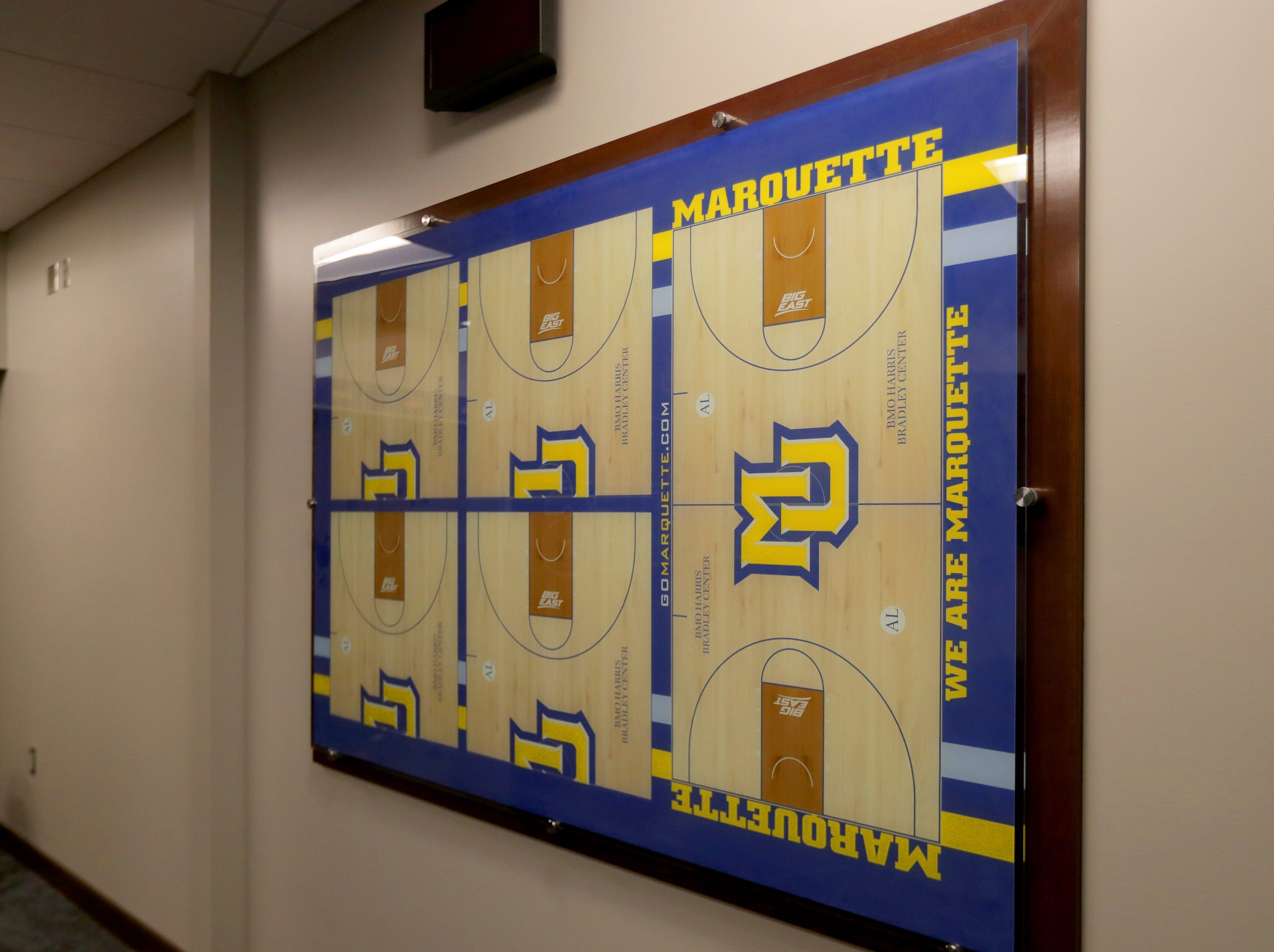 A dry erase board for drawing up plays is included in the locker room. The Marquette mens' basketball team locker room is complete at the new Fiserve Forum, the home of the Milwaukee Bucks. Monday, August 27, 2018.  -  Photo by Mike De Sisti / Milwaukee Journal Sentinel