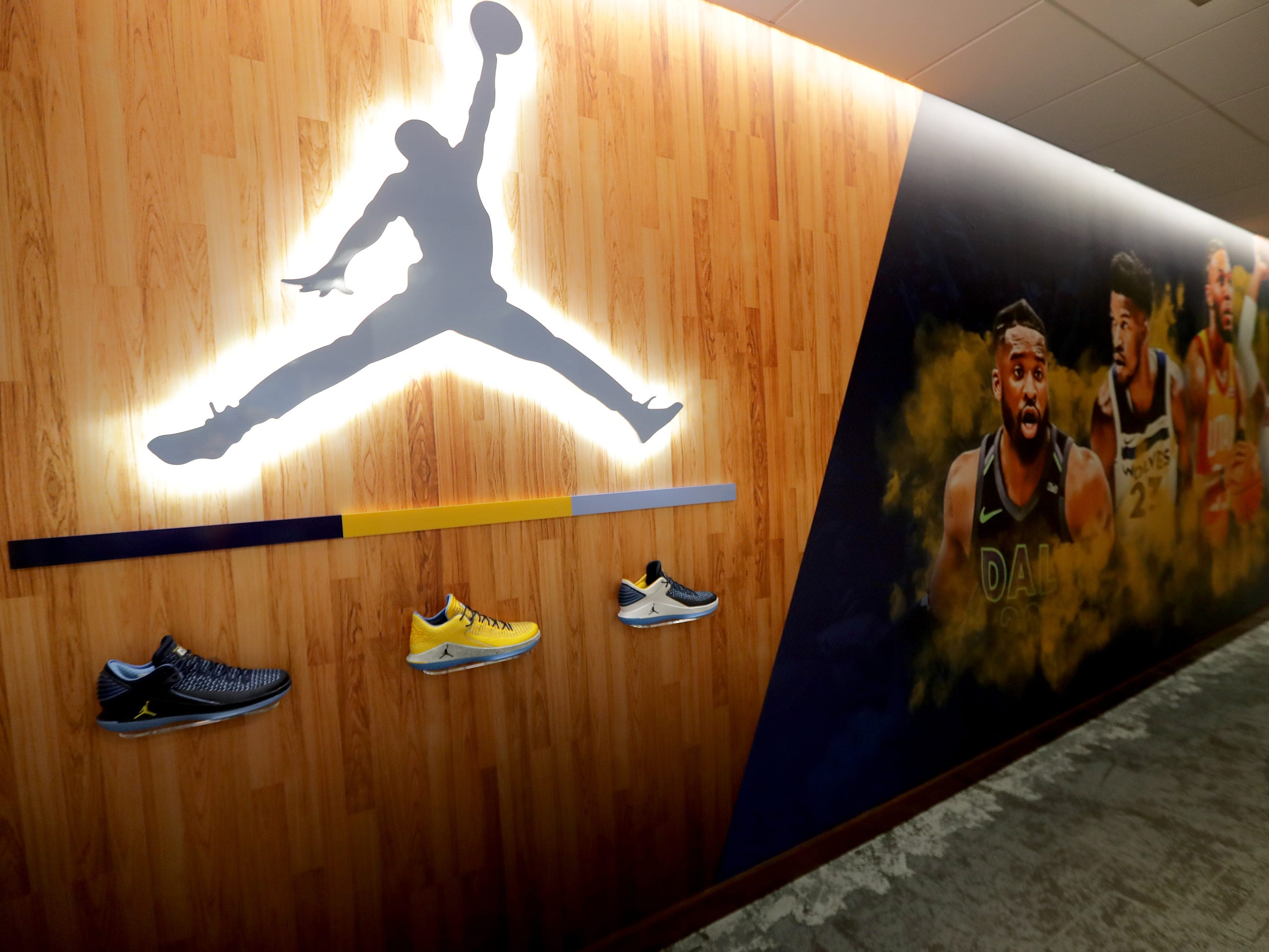A hallway of the locker room, leading to the coaches office features an Air Jordan logo. The Marquette mens' basketball team locker room is complete at the new Fiserve Forum, the home of the Milwaukee Bucks. Monday, August 27, 2018.  -  Photo by Mike De Sisti / Milwaukee Journal Sentinel