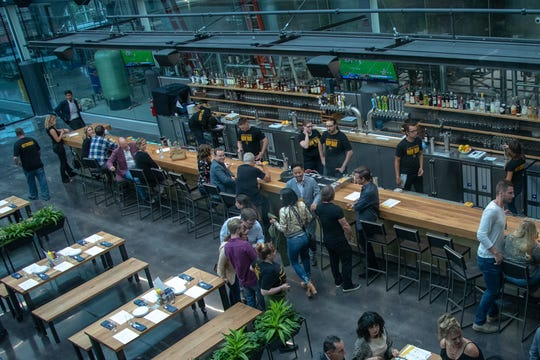 Glass + Griddle, the restaurant next to the new Milwaukee Brewing Co. site on N. 9th St., is set up in a beer hall style. It will serve dinner daily, adding brunch later. The full bar will have 10 Milwaukee Brewing beers on tap, plus other craft beers, wine, cocktails and nonalcoholic drinks on tap.