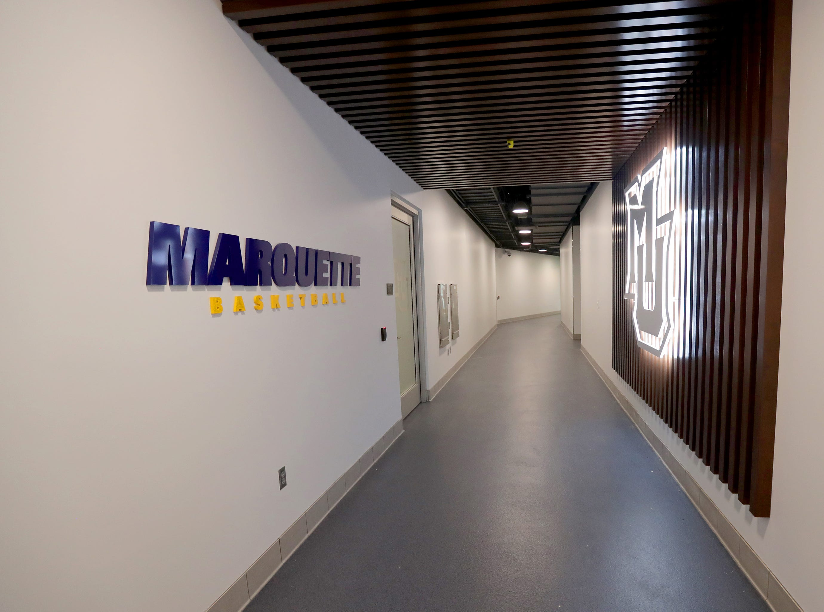 The hallway leading to the entrance to the Marquette locker room. The Marquette mens' basketball team locker room is complete at the new Fiserve Forum, the home of the Milwaukee Bucks. Monday, August 27, 2018.  -  Photo by Mike De Sisti / Milwaukee Journal Sentinel