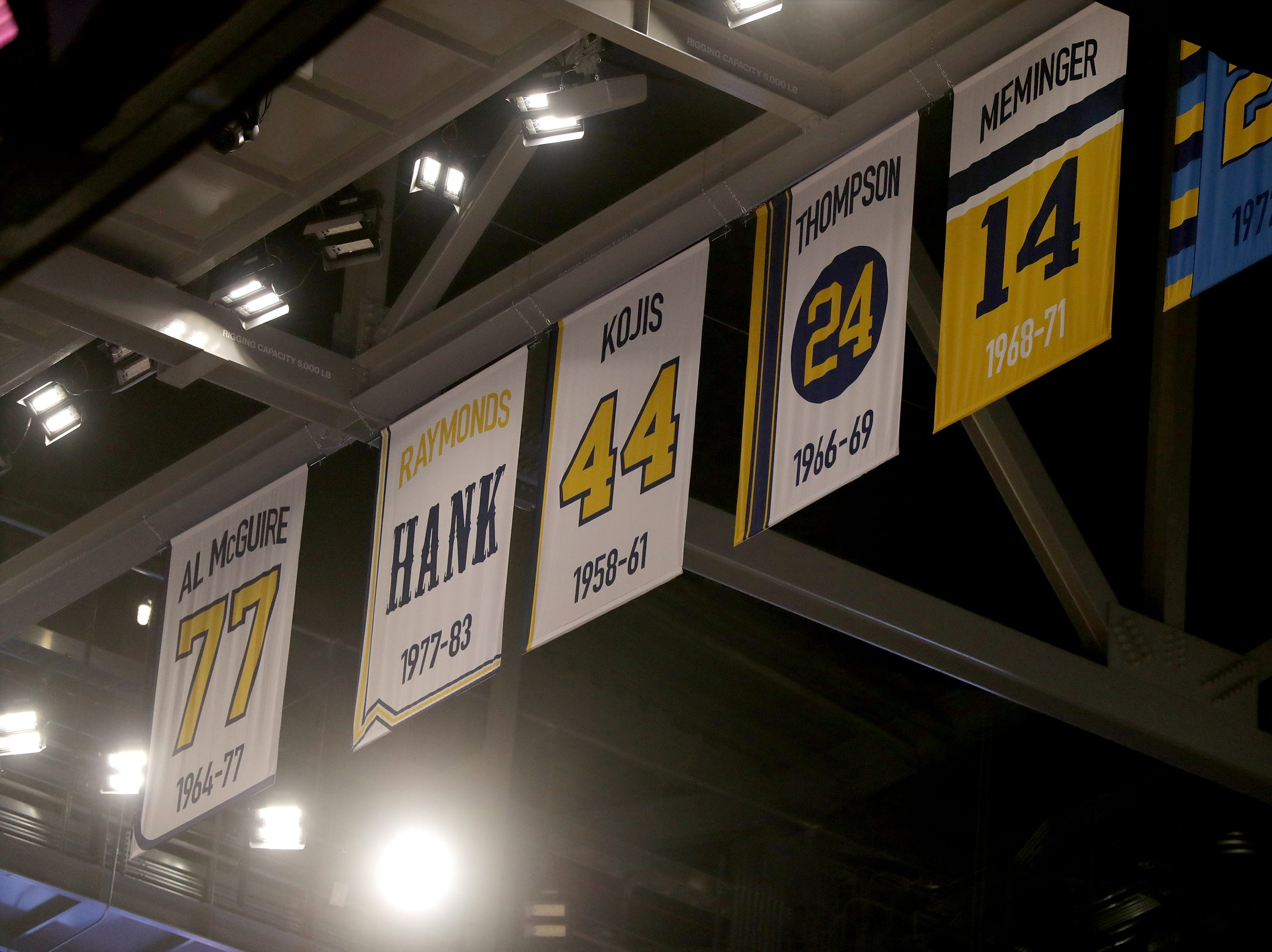Marquette banners hang from the rafters. The Marquette mens' basketball team locker room is complete at the new Fiserve Forum, the home of the Milwaukee Bucks. Monday, August 27, 2018.  -  Photo by Mike De Sisti / Milwaukee Journal Sentinel