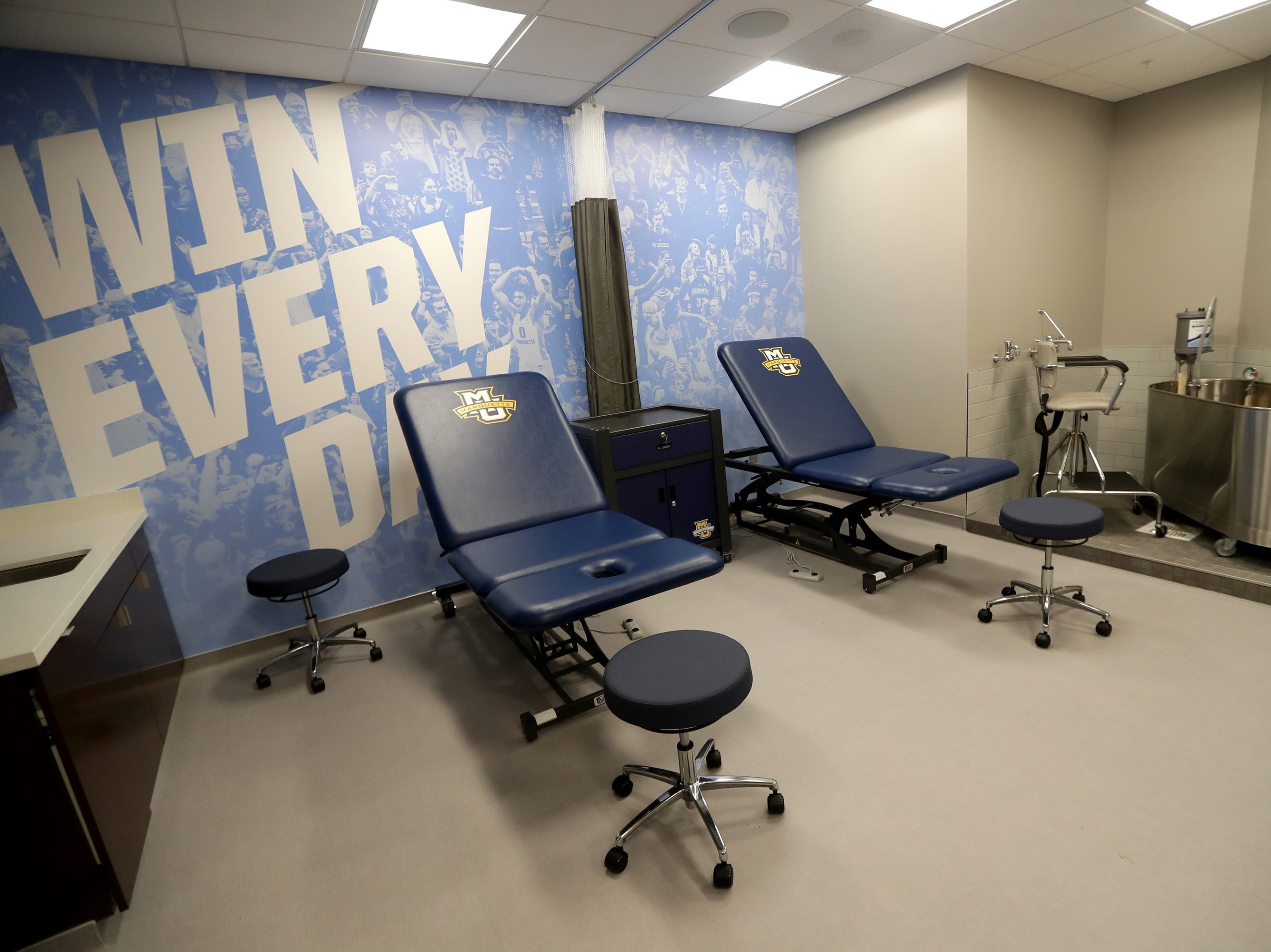 The new training room is just off the locker room.  The Marquette mens' basketball team locker room is complete at the new Fiserve Forum, the home of the Milwaukee Bucks. Monday, August 27, 2018.  -  Photo by Mike De Sisti / Milwaukee Journal Sentinel