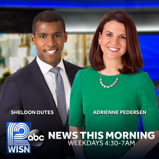 Adrienne Pedersen (right) joins Sheldon Dutes as co-anchor on the weekday morning newscast on WISN-TV (Channel 12).