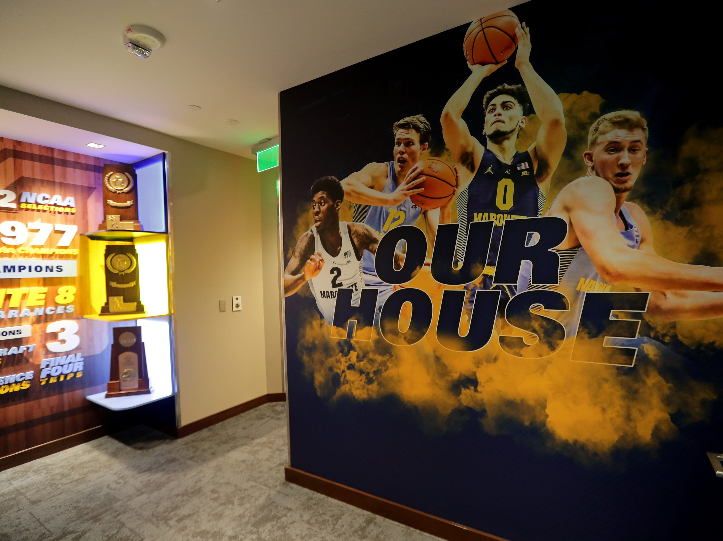A banner with current Marquette players is seen when entering the locker room. The Marquette mens' basketball team locker room is complete at the new Fiserve Forum, the home of the Milwaukee Bucks. Monday, August 27, 2018.  -  Photo by Mike De Sisti / Milwaukee Journal Sentinel
