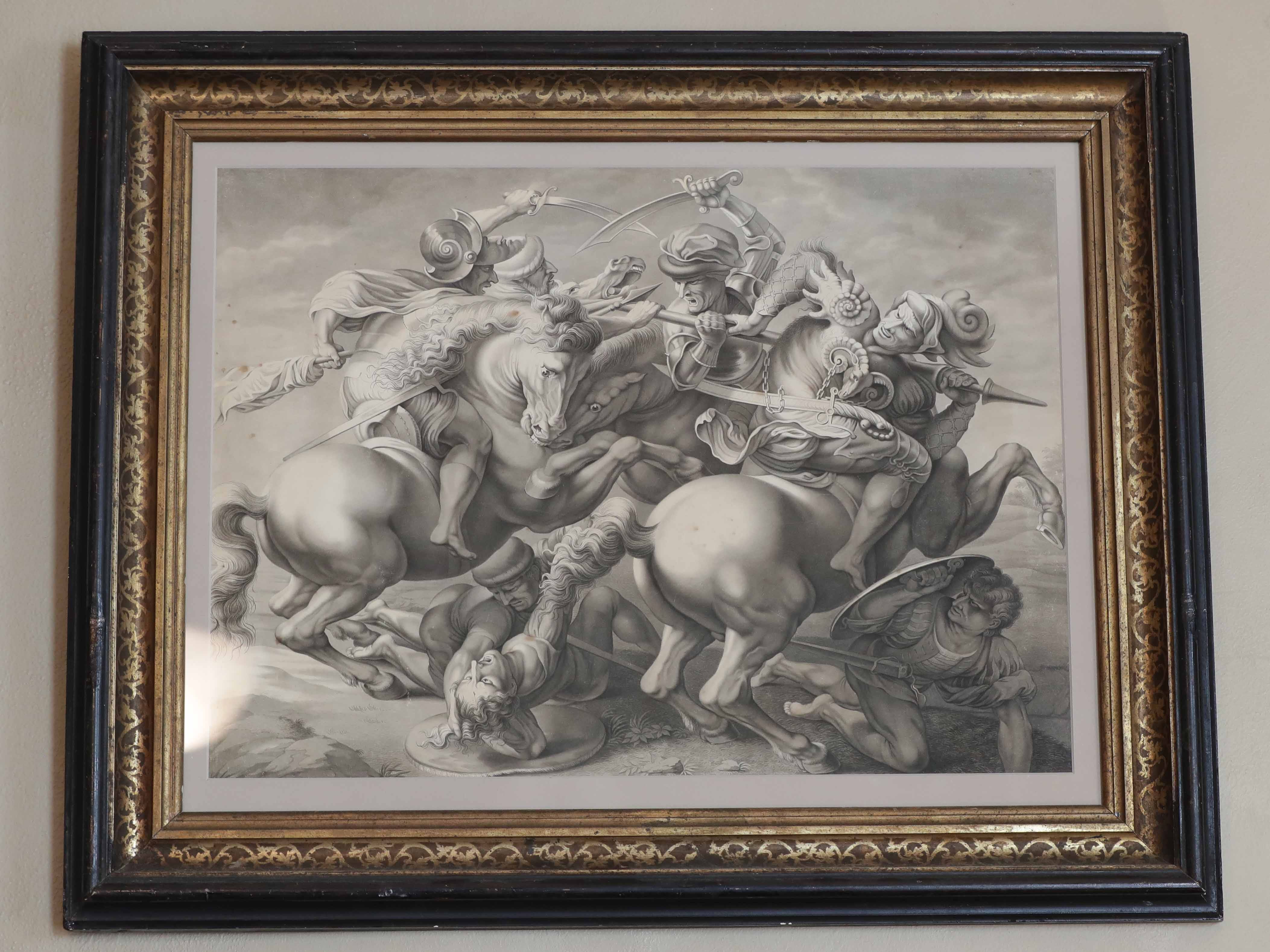 at home berube - A framed ink drawing, a copy of part of a famous mural by Leonardo da Vinci, is one of owner Gene Berube's favorite pieces.