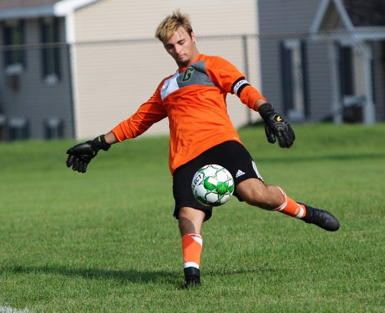 Greenfield goalkeeper Jesse Sponholz punts the ball during a game against Shorewood on August 27.