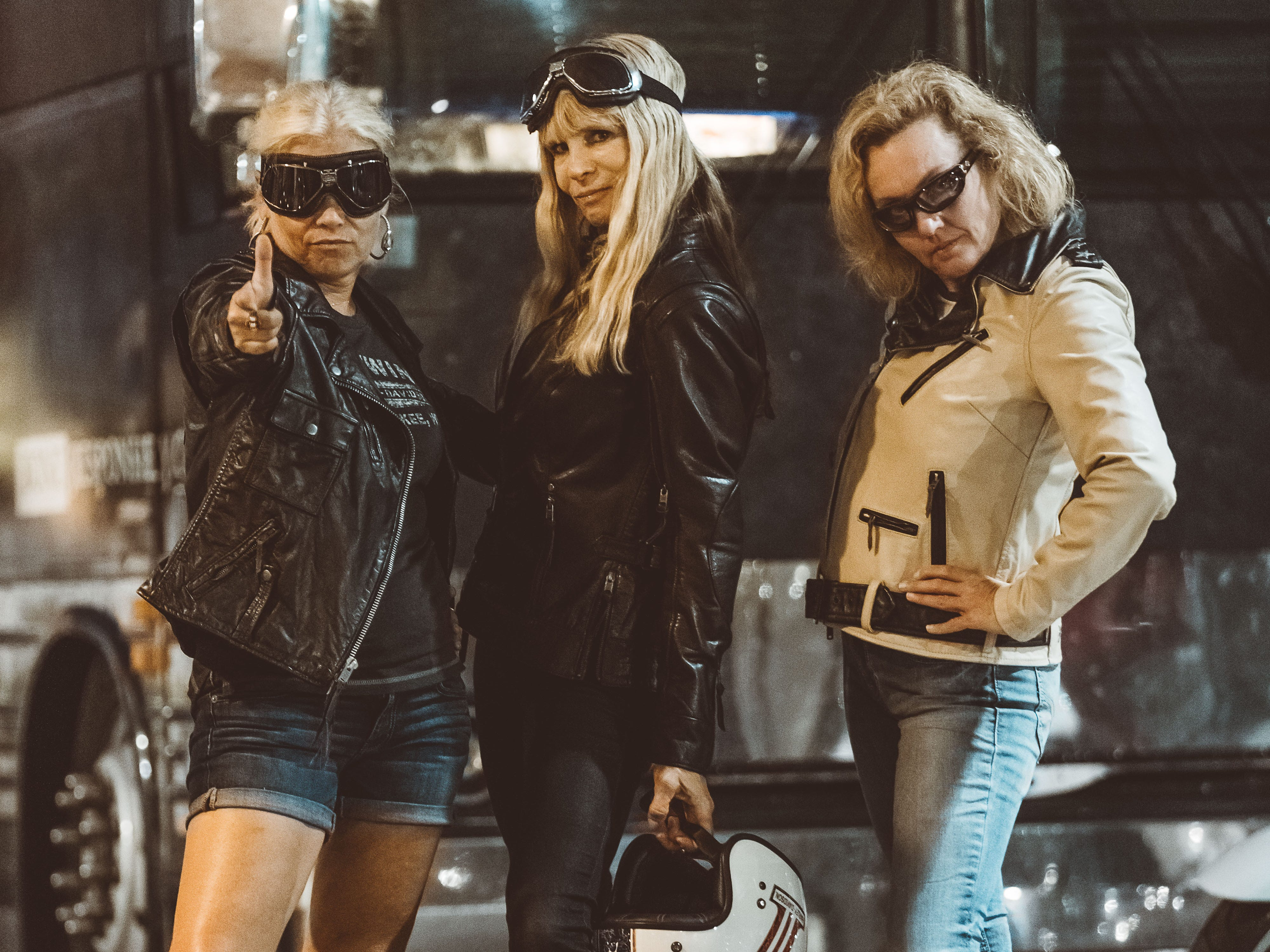 Majsan Bostrom (left) and Amanda Kingsbury (right) were styled by Karen Davidson (center), creative head for Harley-Davidson's MotorClothes and great-granddaughter of Harley-Davidson co-founder William A. Davidson, on Aug. 26 at the Worth Harley-Davidson Dealership in Kansas City, Mo.