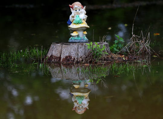 A gnome sits in a flooded yard on a tree stump near a home on North Riverside Drive just north of Highway 33 in Saukville.
