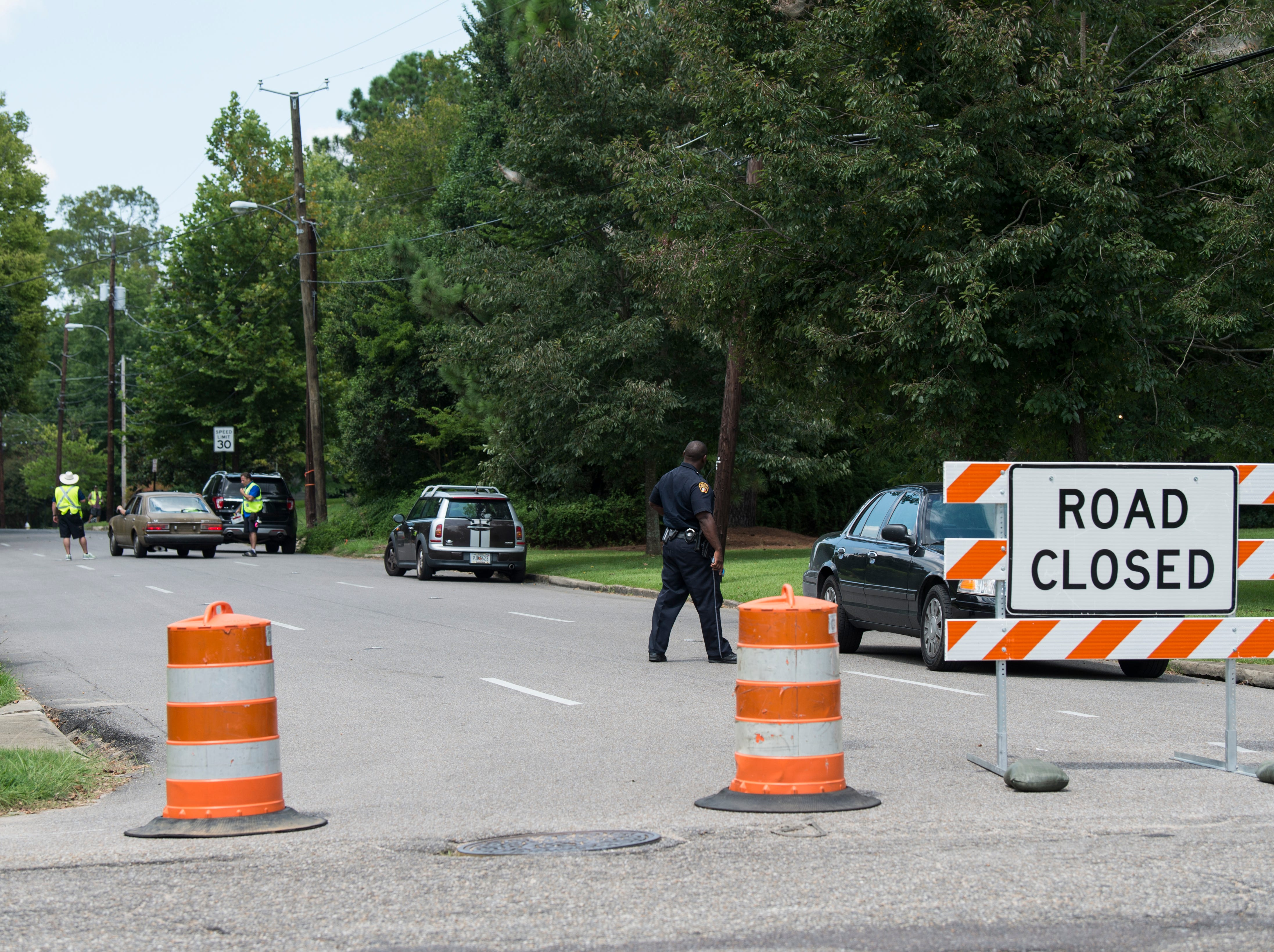 Perry Street from Fairview Ave. is blocked as crews film scenes for 'Just Mercy' in Montgomery, Ala., on Monday, Aug. 27, 2018.