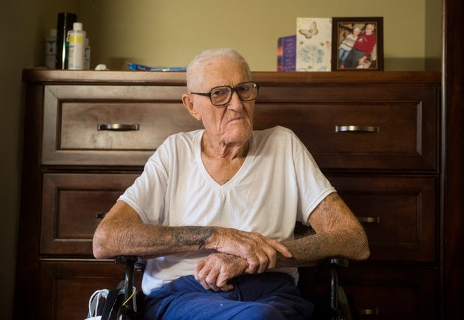 John Burgamy, 84, talks in his room at Prattville Health and Rehab in Montgomery, Ala., on Thursday, Aug. 16, 2018. Burgamy worked 49 years in the maintenance department for Goodwill.