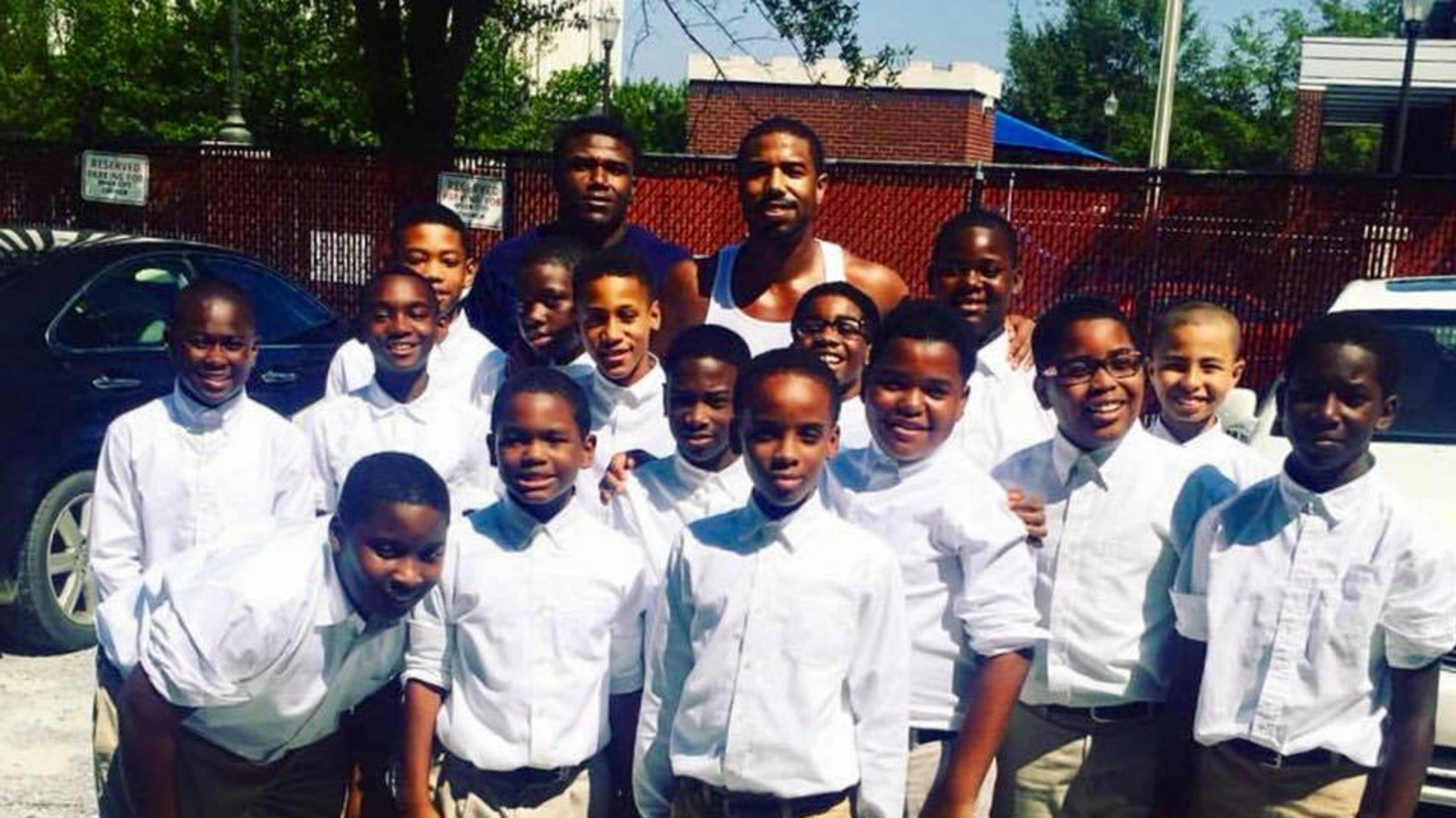 3ee1dbdadbe383  Black Panther  star Michael B. Jordan visits Montgomery school during  Just  Mercy  filming