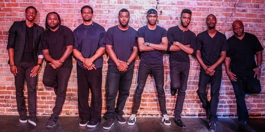 """The D..."" cast photo (left to right): Perry Bell, Jr., Roman Bryant, Harold Lercius, Leonard Ledford III, Milton Jackson, Cameron Mitchell, Jared Dalton, Jimmie Hill, one of the shows included in the Shades of Black Festival."