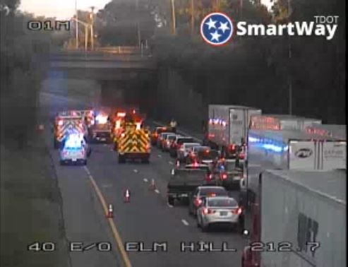 The site of a crash on Interstate 40 East in Nashville on Aug. 27, 2018.