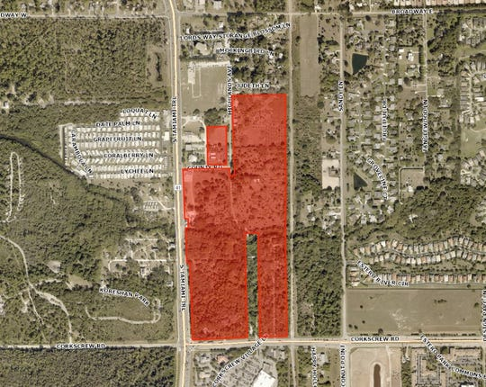 The areas highlighted in orange show the 62 acres of land owned by Village Partners LLC. Estero is considering buying the property.