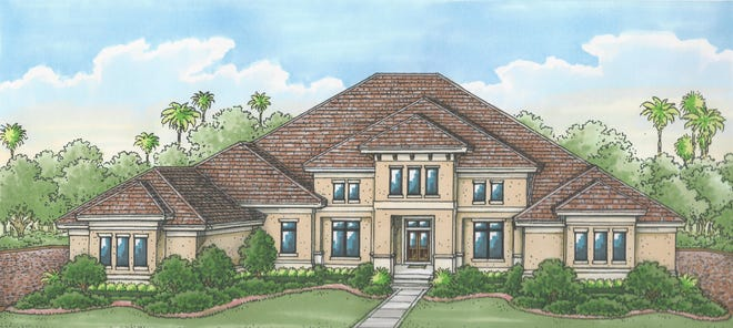 The Glendale model by Stock Signature Homes overlooks a lake and the 11th fairway of the Lakes Course.