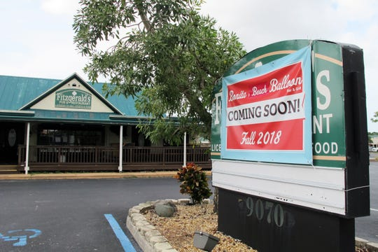 Bonita Beach Balloon Bar & Grill is targeted for a grand opening Oct. 15 at the former Fitzgerald's pub space on Bonita Beach Road in Bonita Springs.