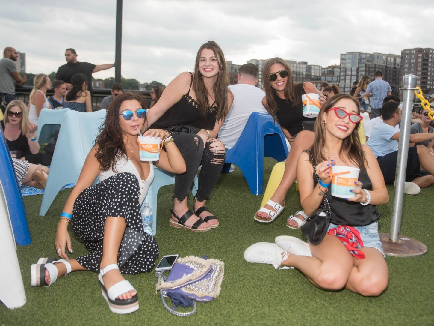 Ashley, Nicolette, Melissa and Melanie. We dropped by Pier 13 in Hoboken to check out the end of summer fun in the area. 08/26/2018