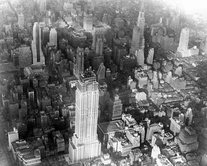Aerial view of the construction of the Empire State Building, New York, on Oct. 14, 1930, which had reached 88 stories.