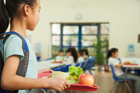 A girl holds a food tray in a school cafeteria.