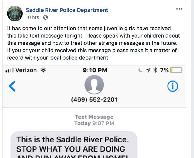 Saddle River Police shared this text message Sunday on the department's Facebook page to warn parents about the hoax.