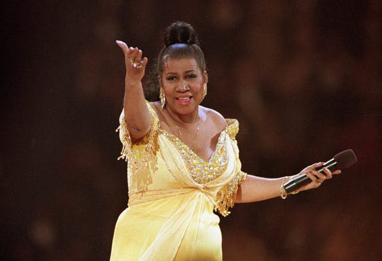 In this Jan. 19, 1993 file photo, singer Aretha Franklin performs at the inaugural gala for President Bill Clinton in Washington. Franklin died on Aug. 16, 2018, at her home in Detroit. She was 76.