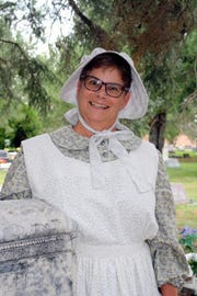 Judy Castleberry portrays her great-great grandmother, Suzanna Rhoades, who came west with five kids in a covered wagon.