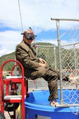Todd Oberheu, LCMC  Hospital Chief Executive, brings it on in full gear ready to be dunked at LCMC appreciation day.