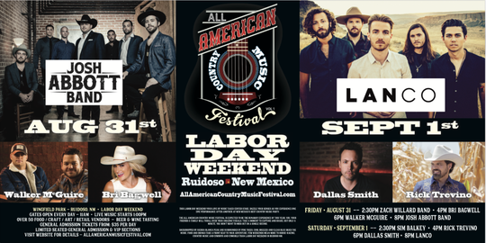 Labor Day weekend All American Country Music Festival line-up.