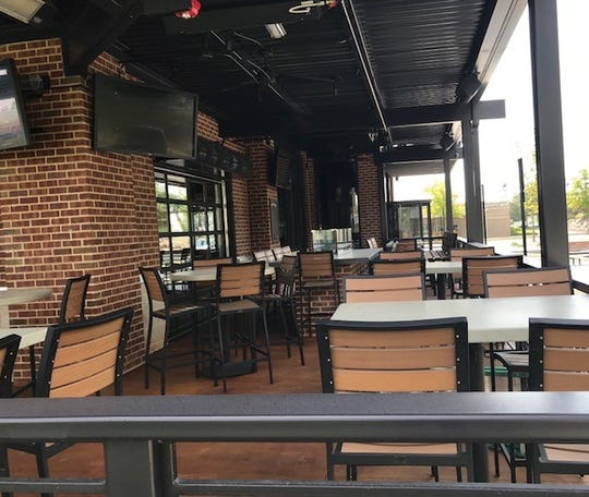 The patio at BJ's Restaurant & Brewhouse is ready for customers when it opens Sept. 3.