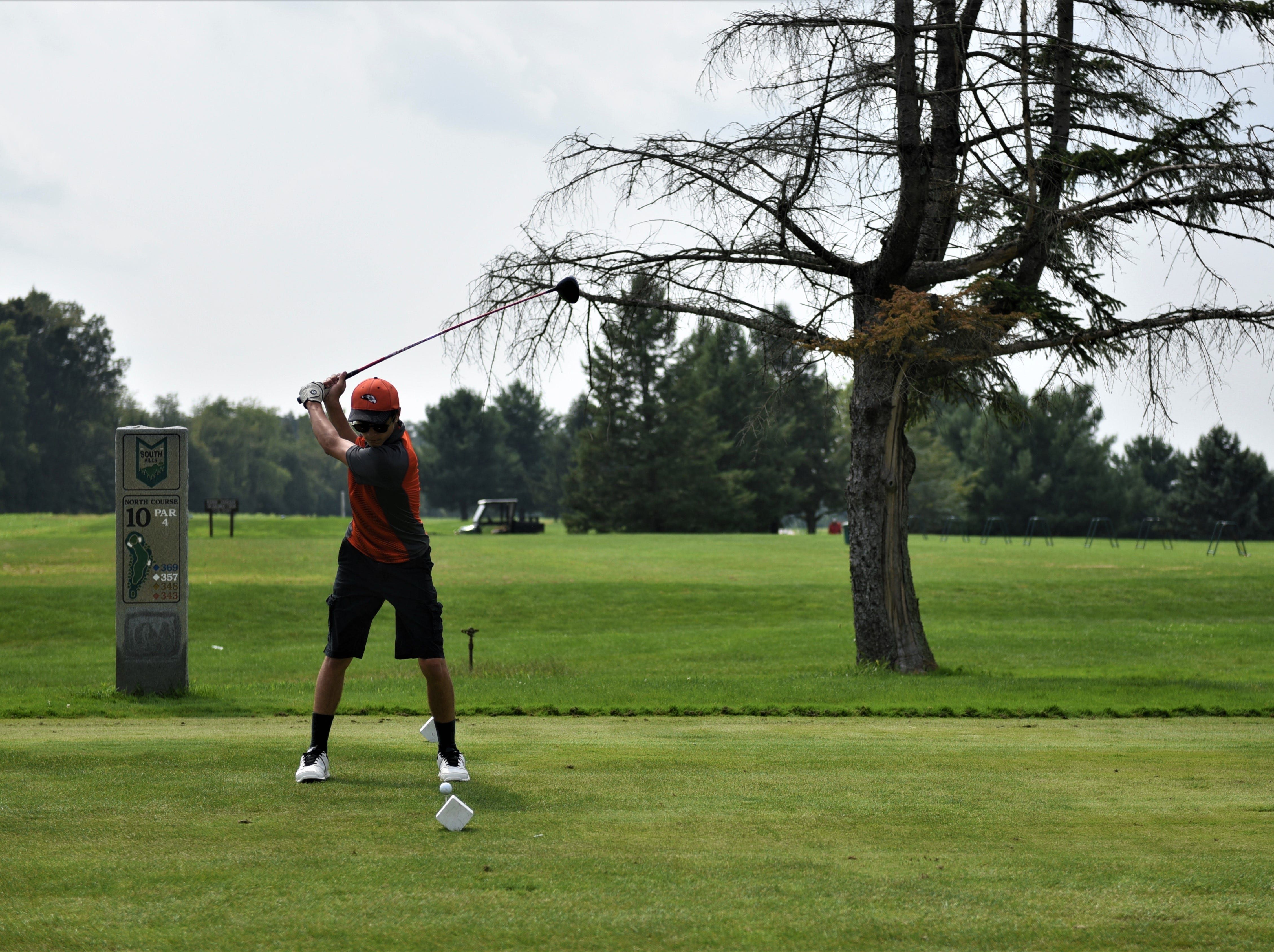 Cooper Roberts of Hanover High School competes during the Division III golf match at the South Hills Golf Course on Aug. 27, 2018.