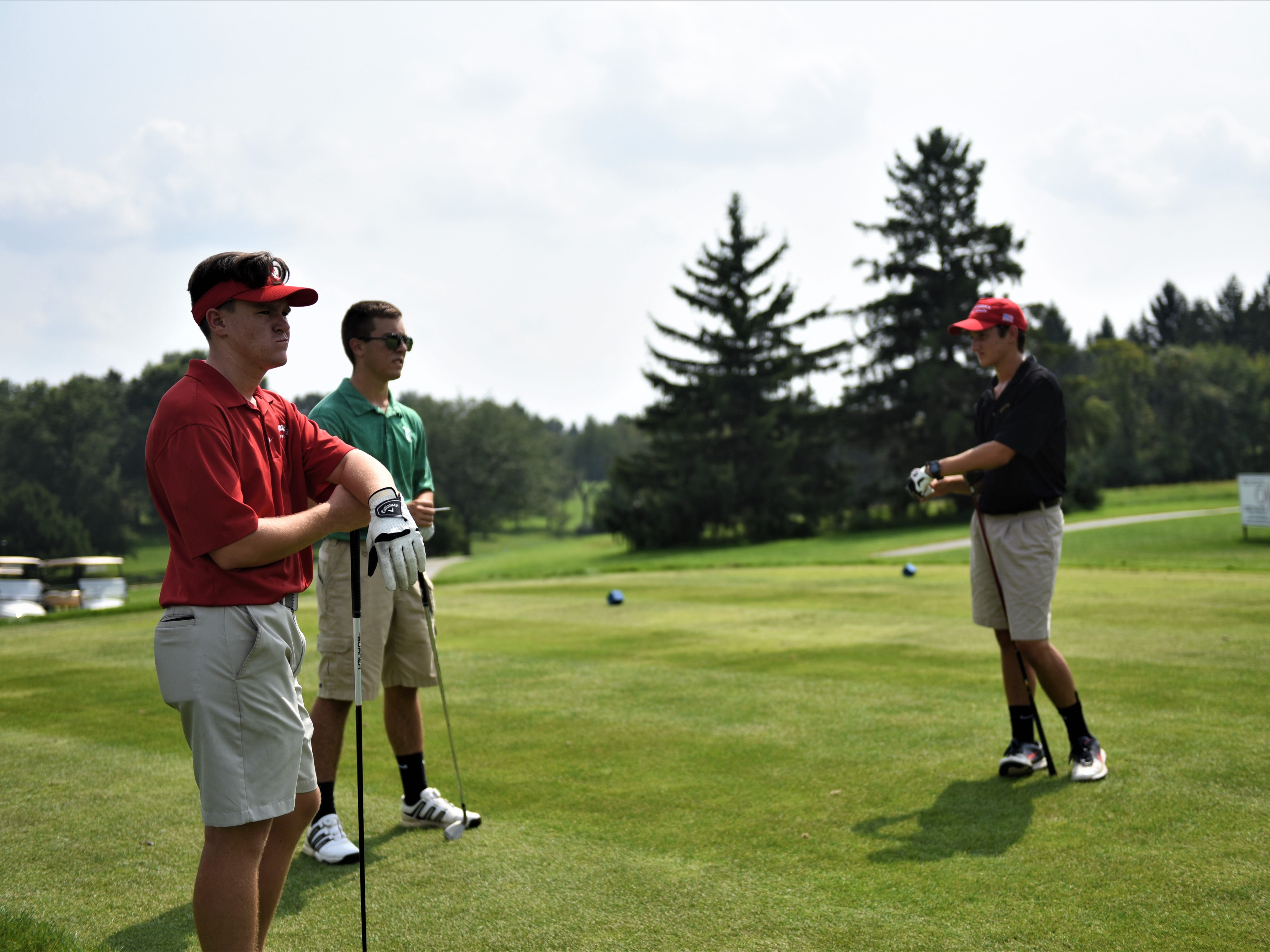 Bermudian Springs' Fritz Meixner, York Catholic's Ben Andrasi and Delone Catholic's Nick Carpenter watch the action during the Division III golf match at the South Hills Golf Course on Aug. 27, 2018.