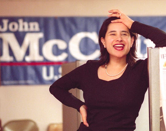 In a February 2000 photo, Bettina Nava   reacts to a McCain campaign volunteer's comments at the candidate's headquarters in Phoenix. Nava has worked as state director forMcCain.